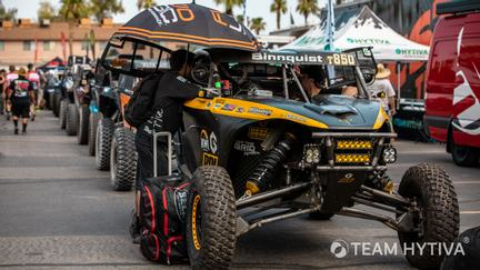 UTV's Lined Up as They Move Through Tech