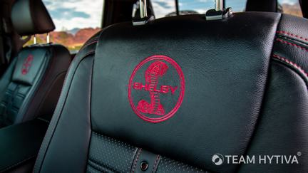 Embroidered Red Shelby Logos on Leather Seats