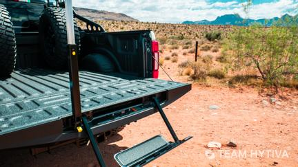 Shelby Super Baja Tailgate Step and Grab Bar in Locked Position.